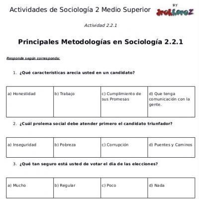 Actividades de las Principales Metodologías en Sociología primera parte- Sociología 2 1