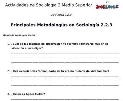 Actividades de las Principales Metodologías en Sociología segunda parte- Sociología 2 0