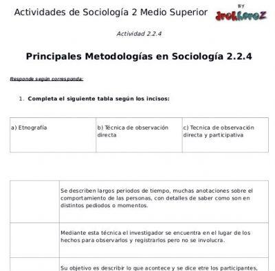Actividades de las Principales Metodologías en Sociología segunda parte- Sociología 2 1