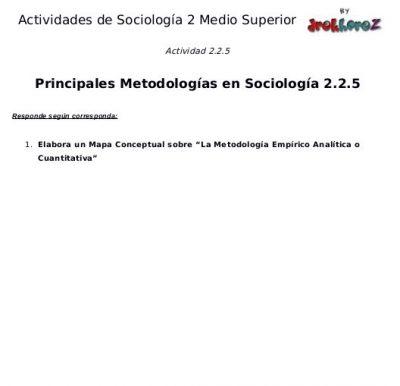 Actividades de las Principales Metodologías en Sociología segunda parte- Sociología 2 2