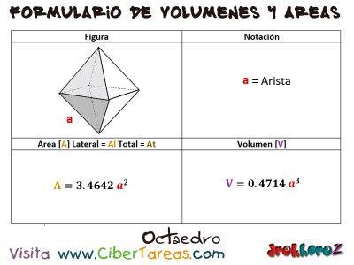 Octaedro – Formulario de Volúmenes y Áreas 0