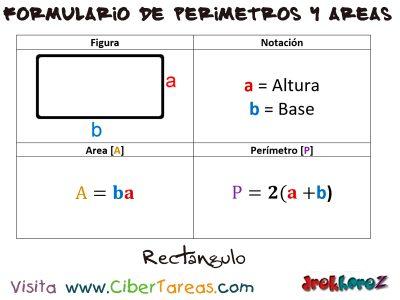 Rectángulo – Formulario de Perímetros y Áreas 0