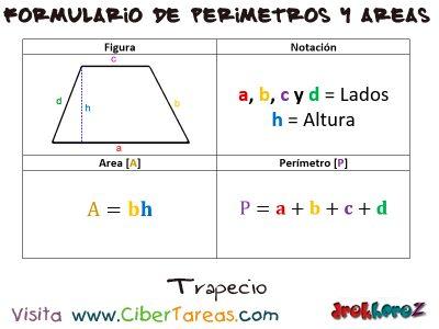 Trapecio – Formulario de Perímetros y Áreas 0