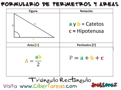 Triangulo Rectángulo – Formulario de Perímetro y Áreas 0