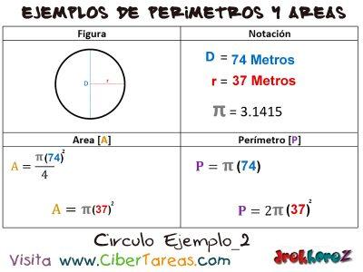 Circulo – Ejemplos de Áreas y Perímetros 1