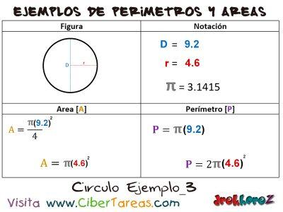 Circulo – Ejemplos de Áreas y Perímetros 2