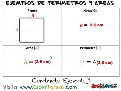 Cuadrado – Ejemplos de Áreas y Perímetros 0