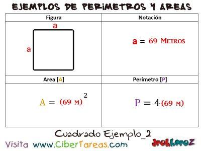 Cuadrado – Ejemplos de Áreas y Perímetros 1
