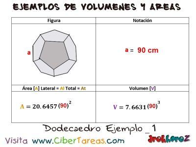 Dodecaedro – Ejemplos de Volúmenes y Áreas 0
