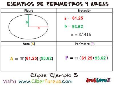 Elipse – Ejemplos de Áreas y Perímetros 2