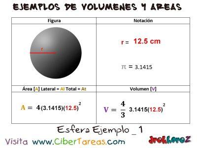 Esfera – Ejemplos de Volúmenes y Áreas 0