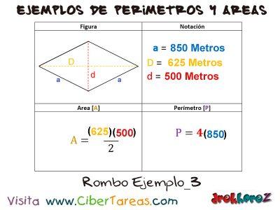 Rombo – Ejemplos de Áreas y Perímetros 2