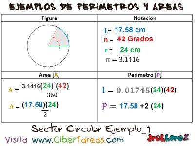Sector Circular – Ejemplos de Áreas y Perímetros 0