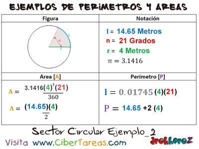 Sector Circular – Ejemplos de Áreas y Perímetros 1