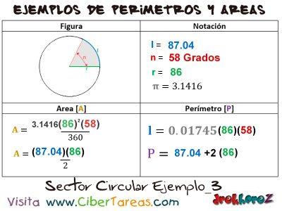 Sector Circular – Ejemplos de Áreas y Perímetros 2