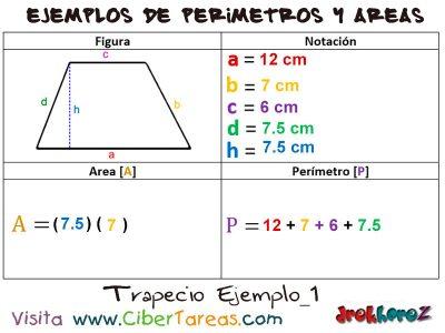 Trapecio – Ejemplos de Áreas y Perímetros 0
