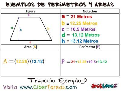 Trapecio – Ejemplos de Áreas y Perímetros 1