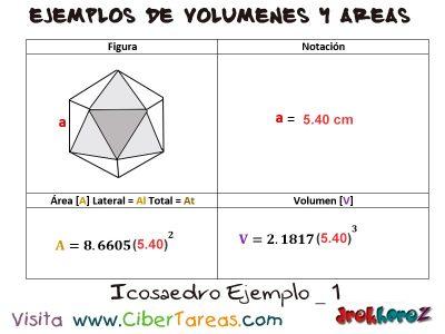 Icosaedro – Ejemplos de Volúmenes y Áreas 0