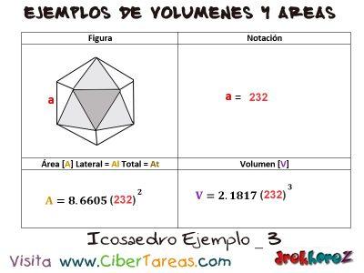 Icosaedro – Ejemplos de Volúmenes y Áreas 2