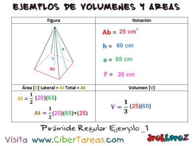 Pirámide Regular – Ejemplos de  Volúmenes y Áreas 0