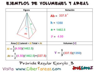 Pirámide Regular – Ejemplos de  Volúmenes y Áreas 2