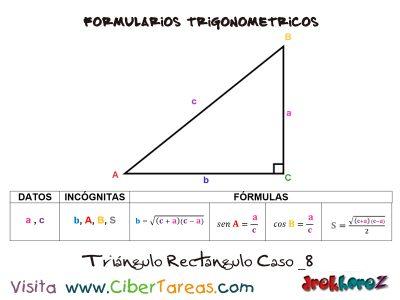 Formulario Trigonométrico – Resolución de Triángulos Rectángulos 8