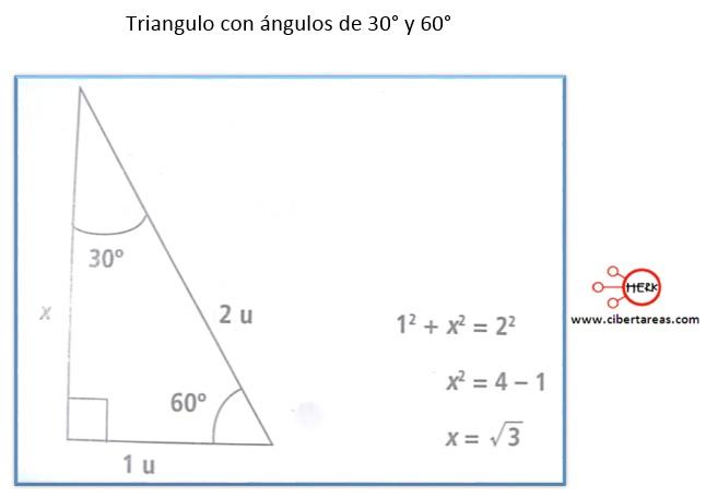 Calculo de valores 30°, 45° y 60° – Matemáticas 2   CiberTareas