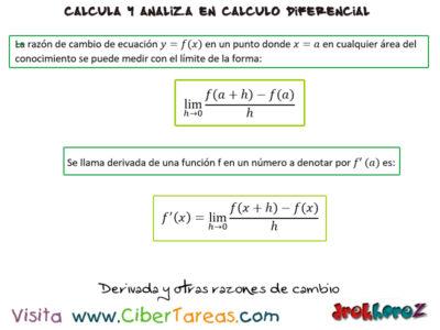 Derivada y otras razones de cambio – Cálculo Diferencial 0