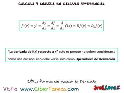 Otras formas de indicar la derivada – Cálculo Diferencial 0