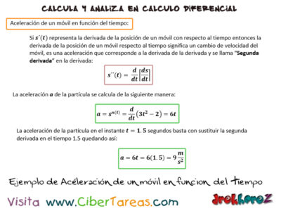 Ejemplo de Aceleración de un Móvil en función del tiempo – Cálculo Diferencial 0