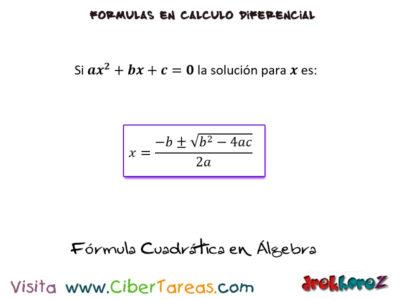 Formula Cuadrática en Álgebra Fórmulas Matemáticas – Cálculo Diferencial 0