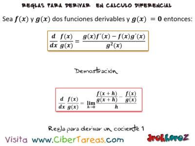 La regla para derivar un consciente – Cálculo Diferencial 0