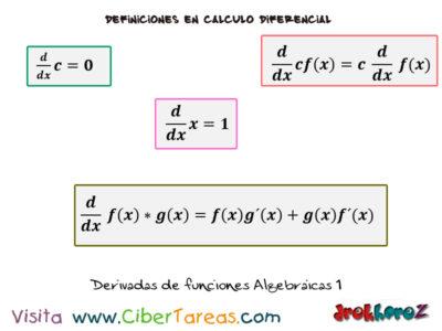 Fórmulas de Derivadas de funciones Algebraicas – Cálculo Diferencial 1