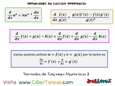 Fórmulas de Derivadas de funciones Algebraicas – Cálculo Diferencial 2