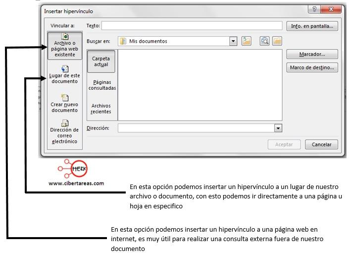 Como insertar un hipervínculo – Gestión de archivos de texto 1