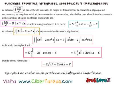 Resoluciones de Problemas en Integrales Indefinidas – Cálculo Integral 1