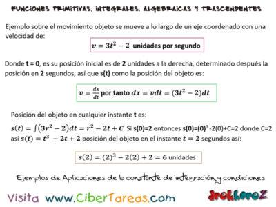 Ejemplos de Aplicaciones de la Constante de Integración y condiciones – Cálculo Integral. 0