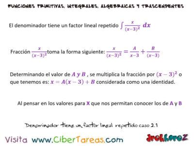 Denominador tiene un Factor Repetido del Caso 2 ejemplo – Cálculo Integral 0