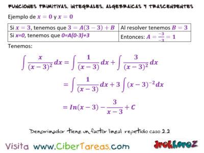Denominador tiene un Factor Repetido del Caso 2 ejemplo – Cálculo Integral 1