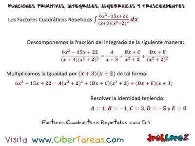 Factores Cuadráticos Repetidos del caso 5 ejemplos – Cálculo Integral 0