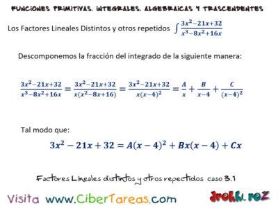 Factores Distintos y otros Repetidos del caso 3 – Cálculo Integral 0