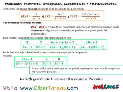 Integración de las Funciones Racionales o Parciales – Calculo Integral 0