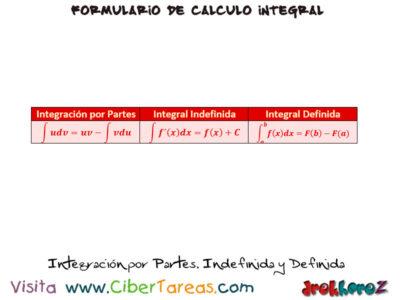 Integración por Partes, Indefinida y Definida – Cálculo Integral 0