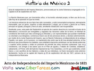 Acta de Independencia del Imperio Mexicano el 28 de Septiembre de 1821 – Historia de México 2 0