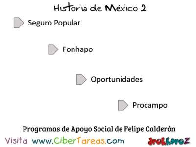 Programas de Apoyo Social de Felipe Calderon en Mexico Contemporaneo Historia de Mexico