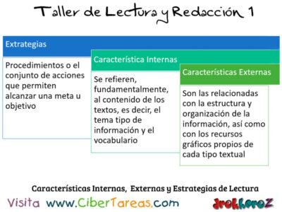 Caracteristicas Internas Externas y Estrategias de Lectura Taller de Lectura y Redaccion