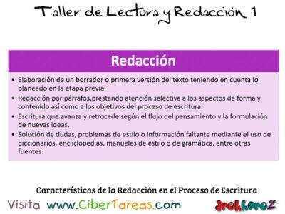 Caracteristicas de la Redaccion en el Proceso de Escritura Taller de Lectura y Redaccion