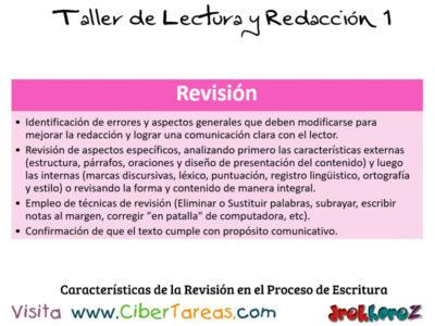 Caracteristicas de la Revision en el Proceso de Escritura Taller de Lectura y Redaccion