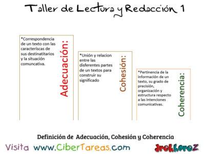 Definicion de Adecuacion Cohesion y Coherencia Taller de Lectura y Redaccion