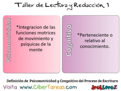 Definicion de Psicomotricidad y Congnitivo del Proceso de Escritura Taller de Lectura y Redaccion